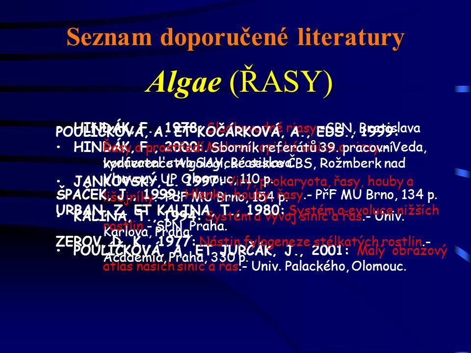 Seznam doporučené literatury HINDÁK, F., 1978: Sladkovodné riasy.-SPN, Bratislava HINDÁK, F., 2000: Makroskopické sinice a riasy.- Veda, vydavatel stvo SAV, Bratislava.
