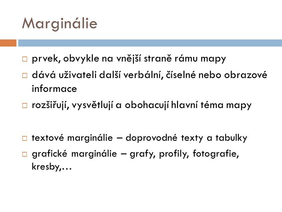 Marginálie  prvek, obvykle na vnější straně rámu mapy  dává uživateli další verbální, číselné nebo obrazové informace  rozšiřují, vysvětlují a obohacují hlavní téma mapy  textové marginálie – doprovodné texty a tabulky  grafické marginálie – grafy, profily, fotografie, kresby,…