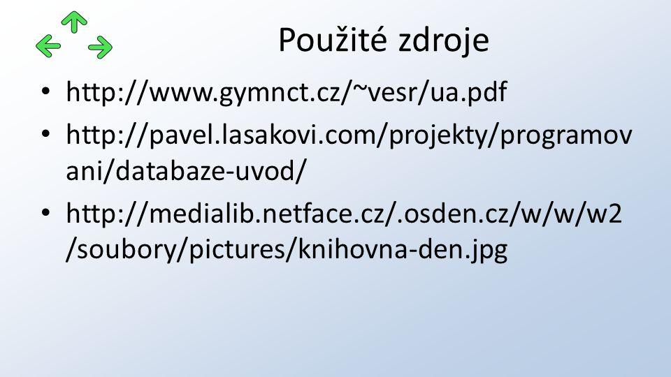 http://www.gymnct.cz/~vesr/ua.pdf http://pavel.lasakovi.com/projekty/programov ani/databaze-uvod/ http://medialib.netface.cz/.osden.cz/w/w/w2 /soubory/pictures/knihovna-den.jpg Použité zdroje