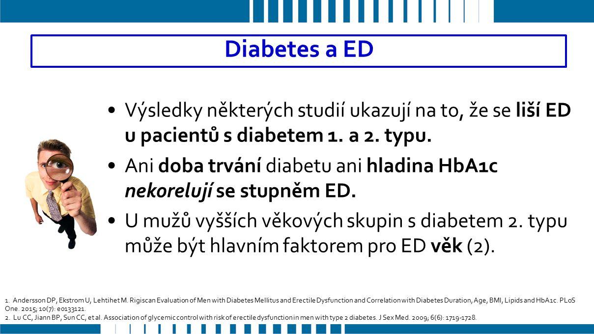 Výsledky některých studií ukazují na to, že se liší ED u pacientů s diabetem 1.