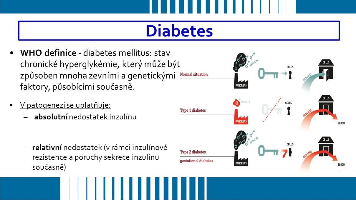 WHO definice - diabetes mellitus: stav chronické hyperglykémie, který může být způsoben mnoha zevními a genetickými faktory, působícími současně.