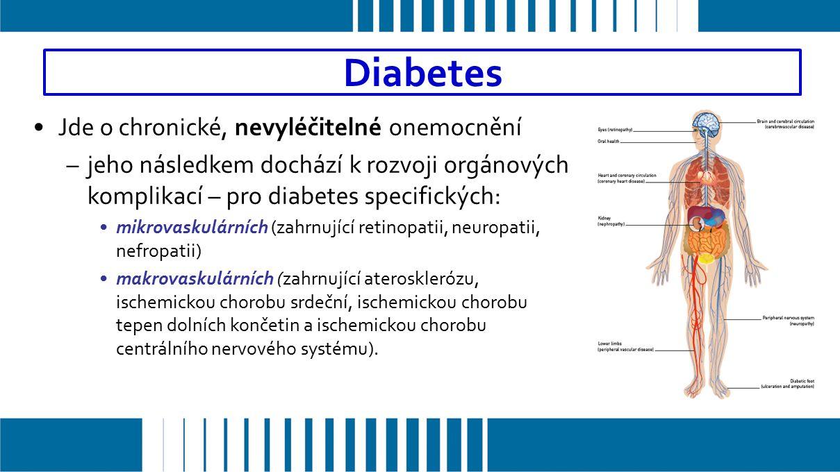 Jde o chronické, nevyléčitelné onemocnění –jeho následkem dochází k rozvoji orgánových komplikací – pro diabetes specifických: mikrovaskulárních (zahrnující retinopatii, neuropatii, nefropatii) makrovaskulárních (zahrnující aterosklerózu, ischemickou chorobu srdeční, ischemickou chorobu tepen dolních končetin a ischemickou chorobu centrálního nervového systému).
