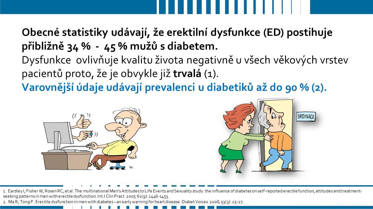 Obecné statistiky udávají, že erektilní dysfunkce (ED) postihuje přibližně 34 % - 45 % mužů s diabetem.