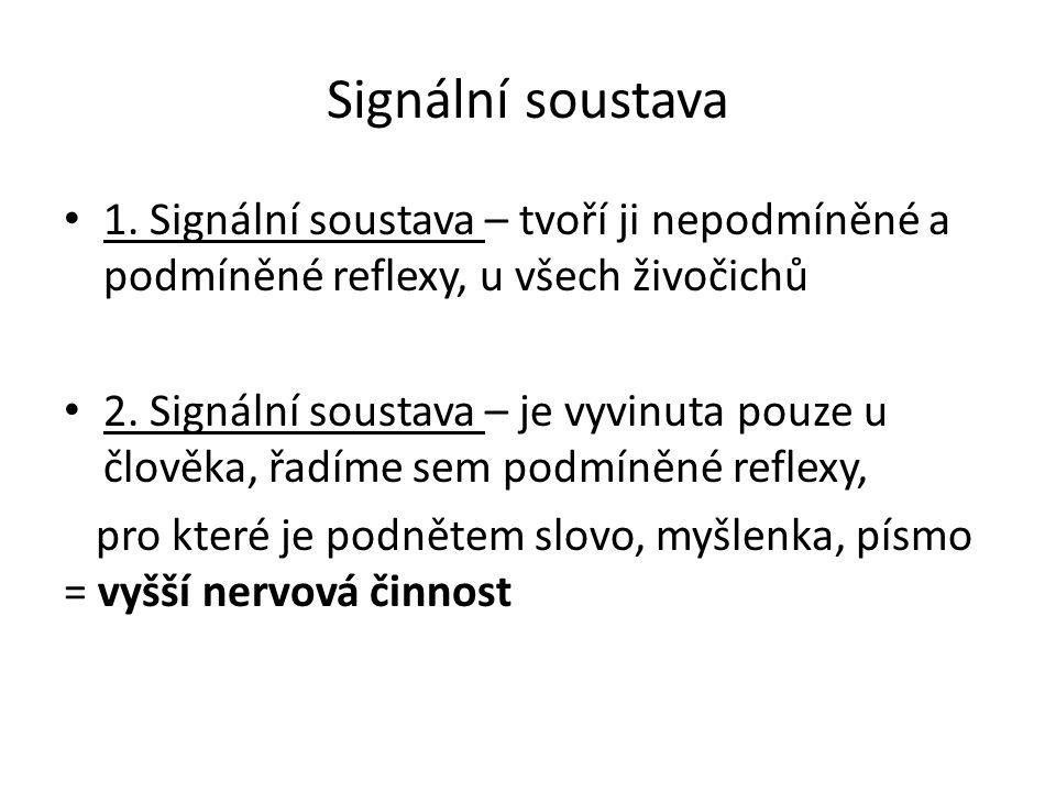 Signální soustava 1. Signální soustava – tvoří ji nepodmíněné a podmíněné reflexy, u všech živočichů 2. Signální soustava – je vyvinuta pouze u člověk