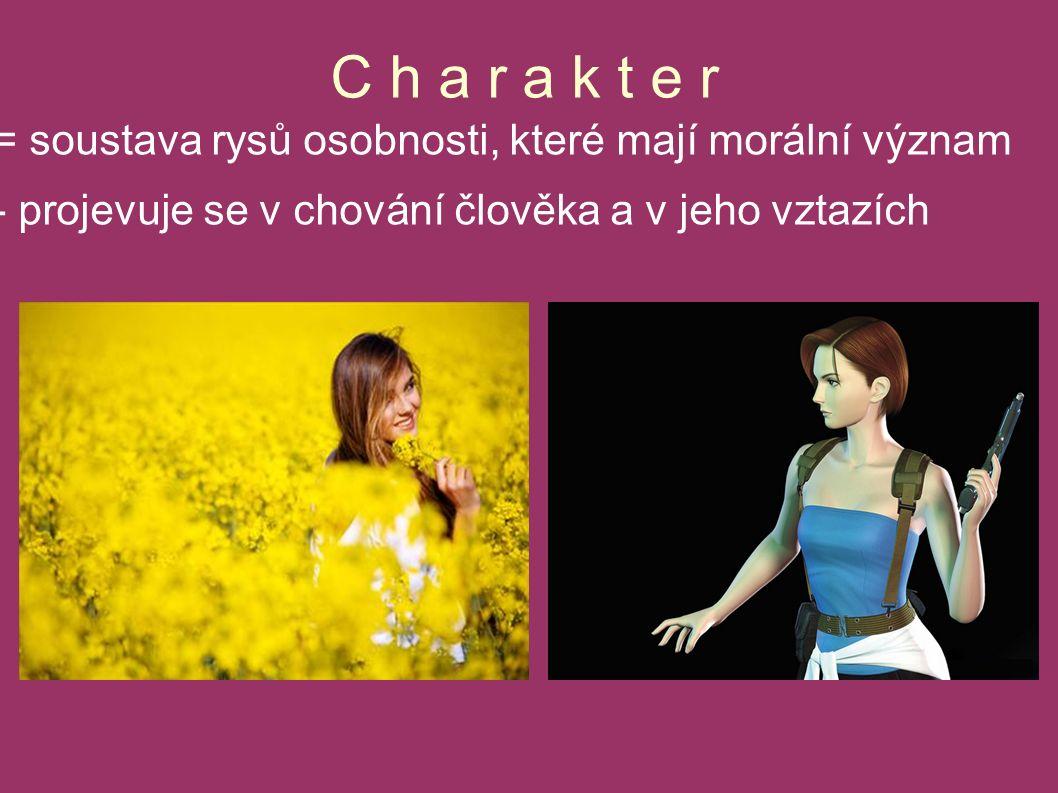 C h a r a k t e r = soustava rysů osobnosti, které mají morální význam - projevuje se v chování člověka a v jeho vztazích