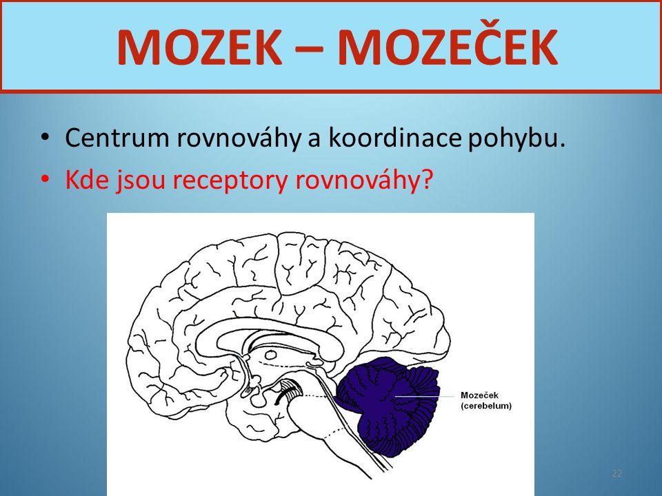 Centrum rovnováhy a koordinace pohybu. Kde jsou receptory rovnováhy? Nervová soustava22 MOZEK – MOZEČEK