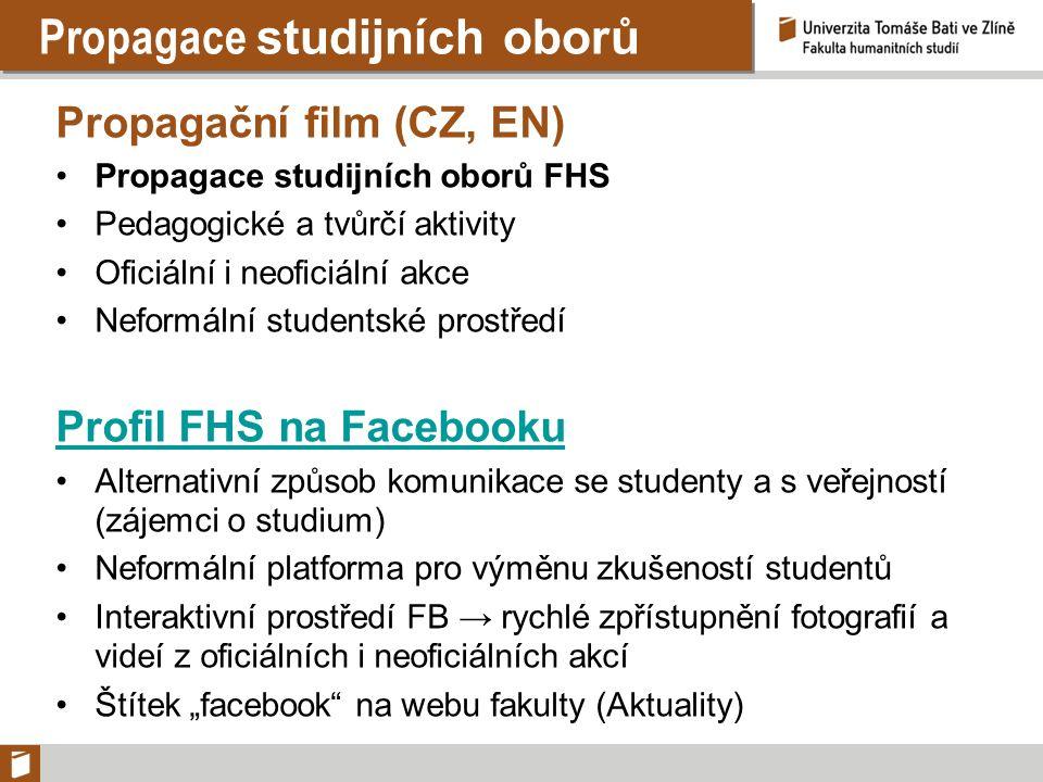 Propagace studijních oborů Propagační film (CZ, EN) Propagace studijních oborů FHS Pedagogické a tvůrčí aktivity Oficiální i neoficiální akce Neformál