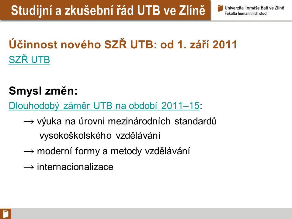 Studijní a zkušební řád UTB ve Zlíně Účinnost nového SZŘ UTB: od 1. září 2011 SZŘ UTB Smysl změn: Dlouhodobý záměr UTB na období 2011–15Dlouhodobý zám