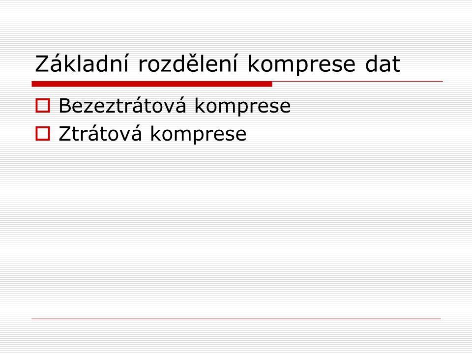 Základní rozdělení komprese dat  Bezeztrátová komprese  Ztrátová komprese