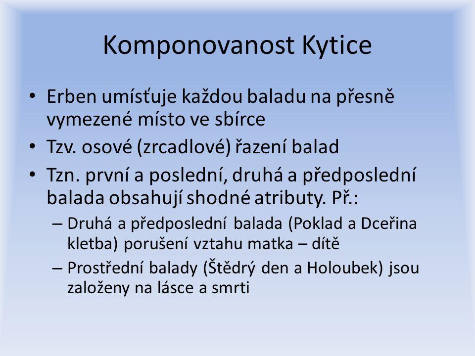 Komponovanost Kytice Erben umísťuje každou baladu na přesně vymezené místo ve sbírce Tzv. osové (zrcadlové) řazení balad Tzn. první a poslední, druhá