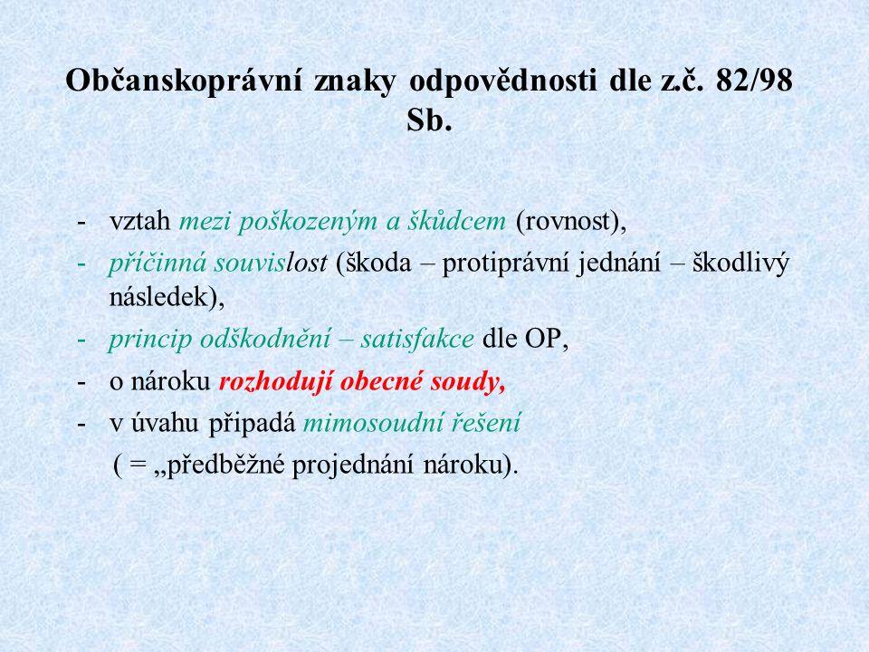 Občanskoprávní znaky odpovědnosti dle z.č. 82/98 Sb.