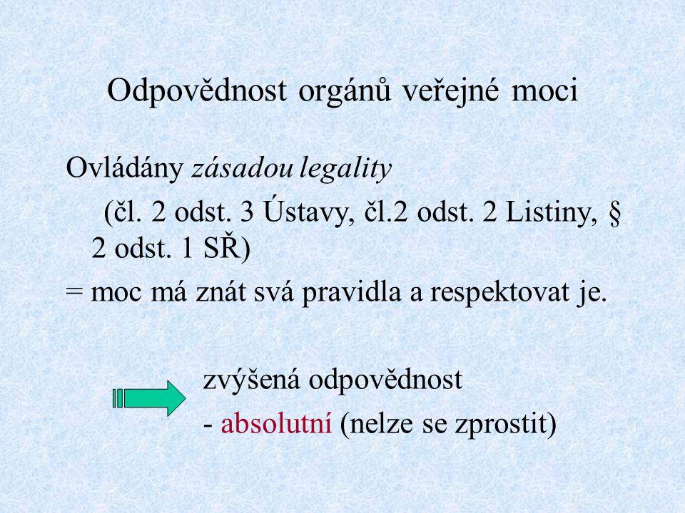 Odpovědnost orgánů veřejné moci Ovládány zásadou legality (čl.