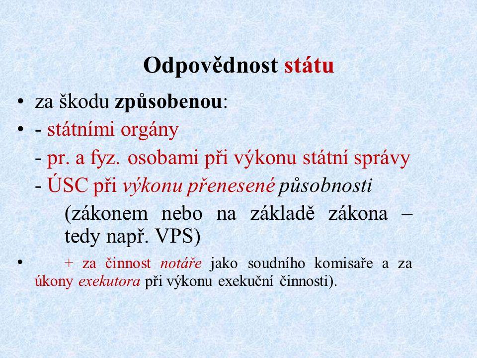 Odpovědnost státu za škodu způsobenou: - státními orgány - pr.