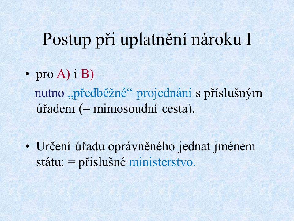 """Postup při uplatnění nároku I pro A) i B) – nutno """"předběžné projednání s příslušným úřadem (= mimosoudní cesta)."""