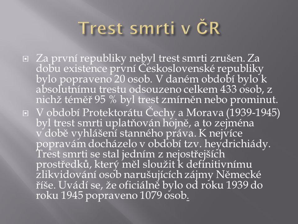  Za první republiky nebyl trest smrti zrušen. Za dobu existence první Československé republiky bylo popraveno 20 osob. V daném období bylo k absolutn