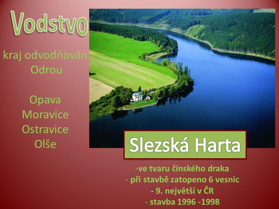 kraj odvodňován Odrou Opava Moravice Ostravice Olše -ve tvaru čínského draka - při stavbě zatopeno 6 vesnic - 9. největší v ČR - stavba 1996 -1998