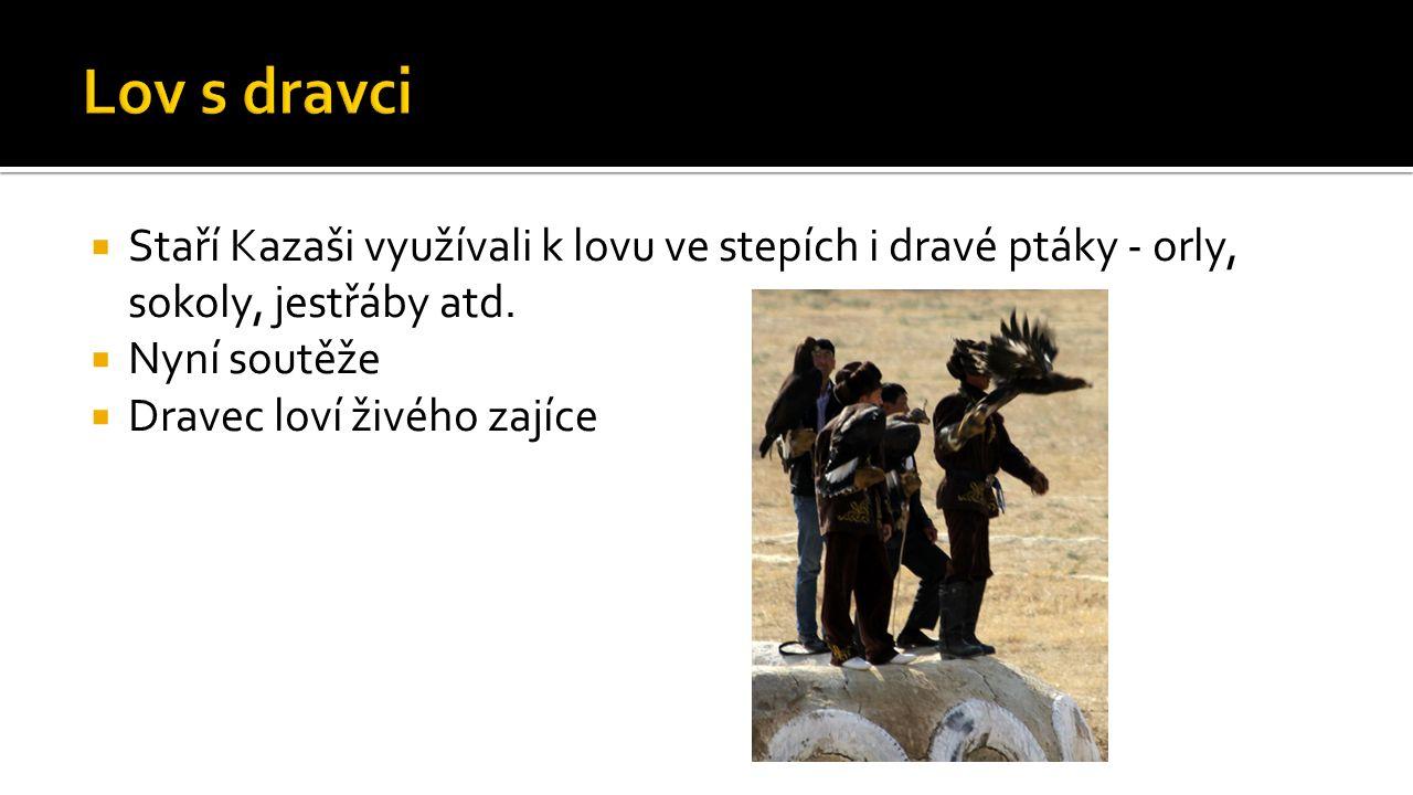  Staří Kazaši využívali k lovu ve stepích i dravé ptáky - orly, sokoly, jestřáby atd.