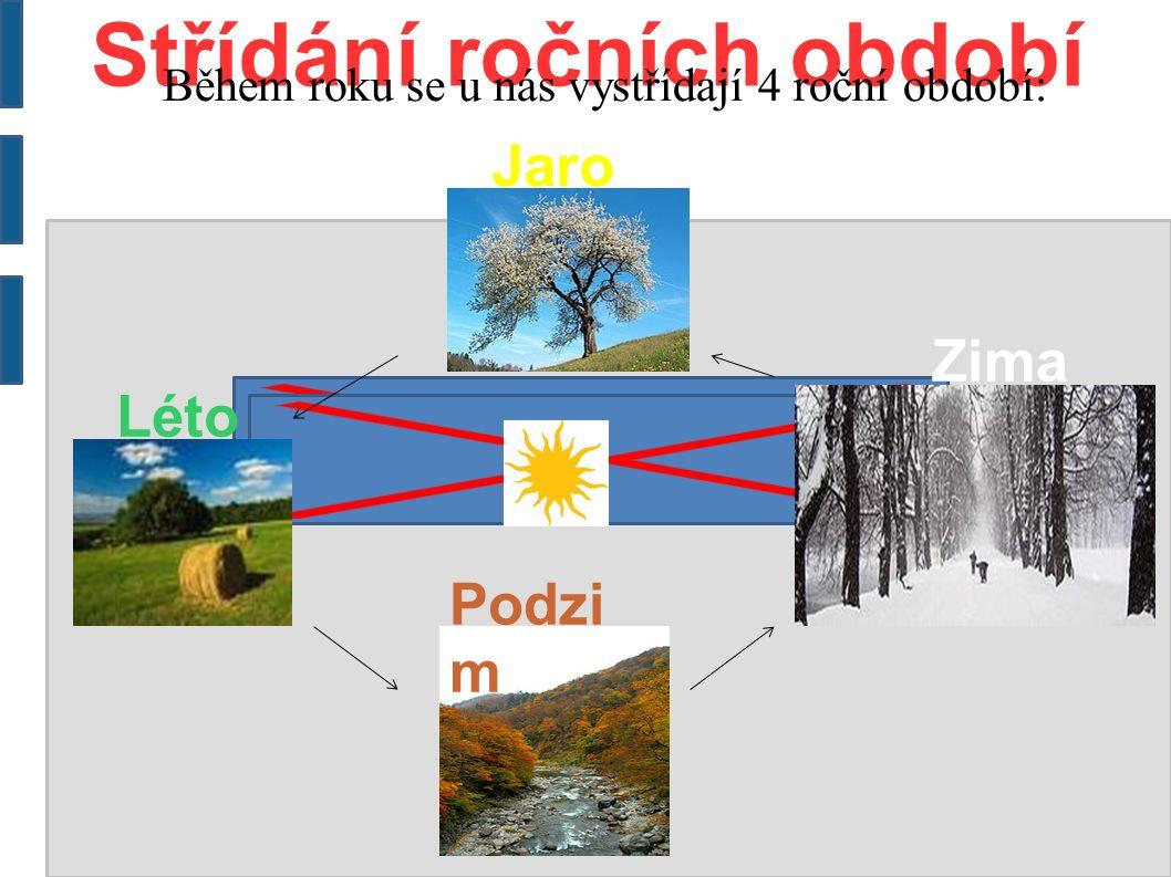 Střídání ročních období Během roku se u nás vystřídají 4 roční období: Jaro Léto Podzi m Zima
