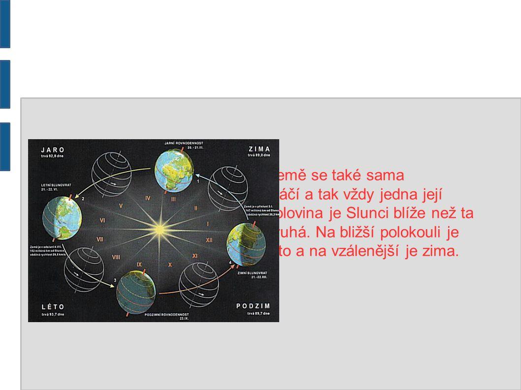 Země se také sama otáčí a tak vždy jedna její polovina je Slunci blíže než ta druhá. Na bližší polokouli je léto a na vzálenější je zima.