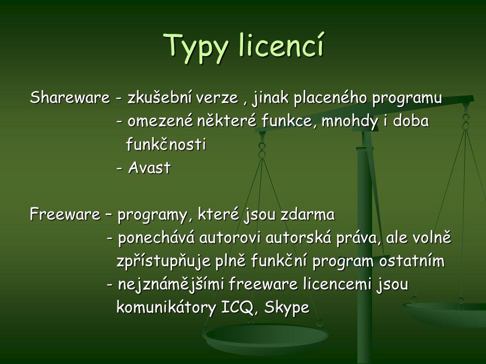 Typy licencí Shareware - zkušební verze, jinak placeného programu - omezené některé funkce, mnohdy i doba - omezené některé funkce, mnohdy i doba funk