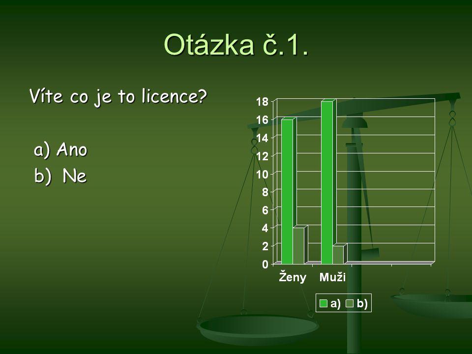 Otázka č.1. Víte co je to licence? a) Ano a) Ano b) Ne b) Ne