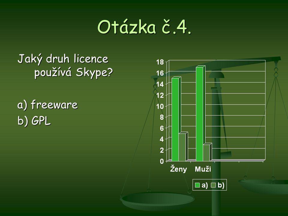 Otázka č.4. Jaký druh licence používá Skype? a) freeware b) GPL