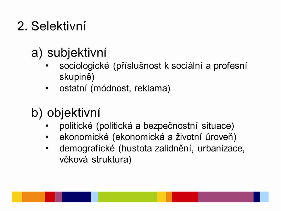 2. Selektivní a)subjektivní sociologické (příslušnost k sociální a profesní skupině) ostatní (módnost, reklama) b)objektivní politické (politická a be