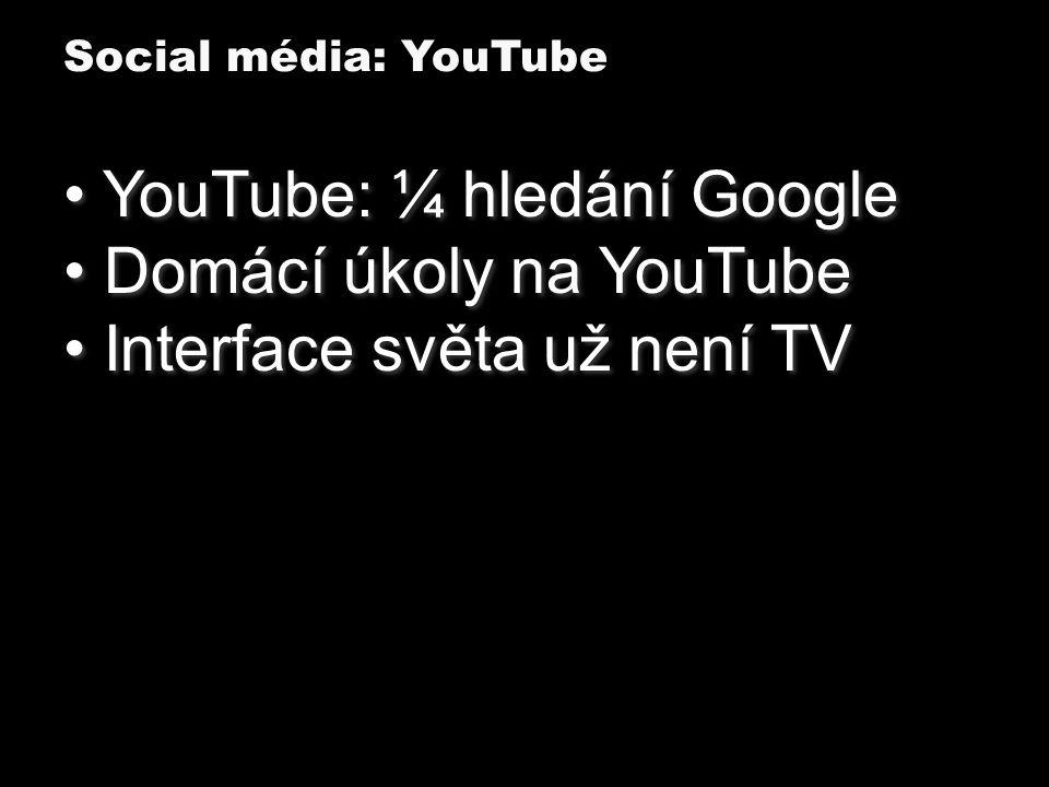 YouTube: ¼ hledání Google Domácí úkoly na YouTube Interface světa už není TV YouTube: ¼ hledání Google Domácí úkoly na YouTube Interface světa už není TV Social média: YouTube