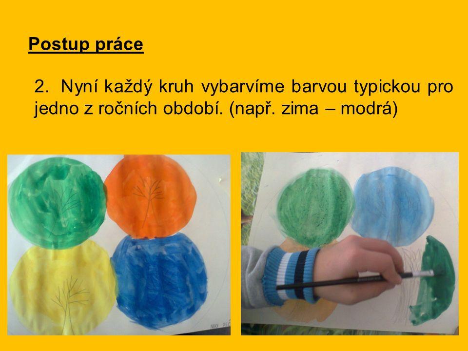 Postup práce 2.Nyní každý kruh vybarvíme barvou typickou pro jedno z ročních období.