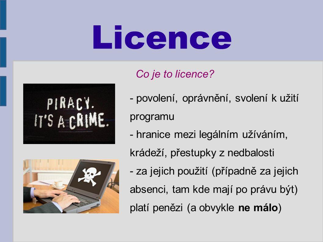 Licence - povolení, oprávnění, svolení k užití programu - hranice mezi legálním užíváním, krádeží, přestupky z nedbalosti - za jejich použití (případně za jejich absenci, tam kde mají po právu být) platí penězi (a obvykle ne málo) Co je to licence