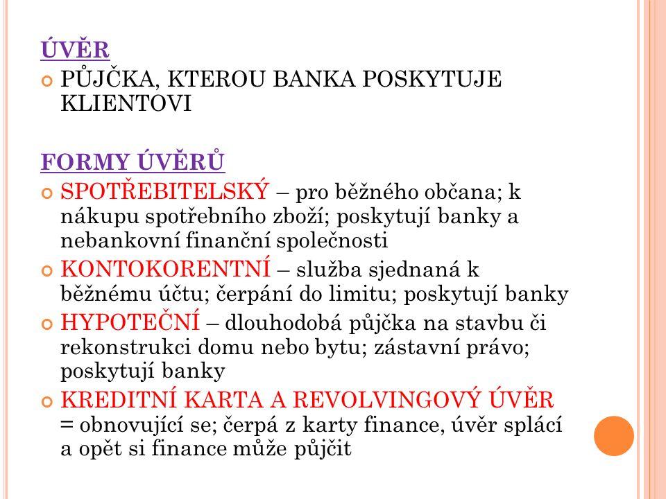 PLATEBNÍ KARTA DEBETNÍ (své peníze) KREDITNÍ (peníze banky = půjčka) ÚROK PENĚŽITÁ ODMĚNA ZA PŮJČENÍ PENĚZ