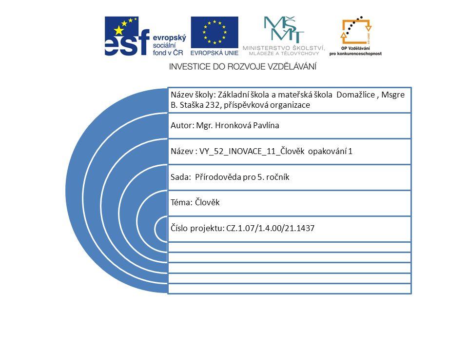Název školy: Základní škola a mateřská škola Domažlice, Msgre B.