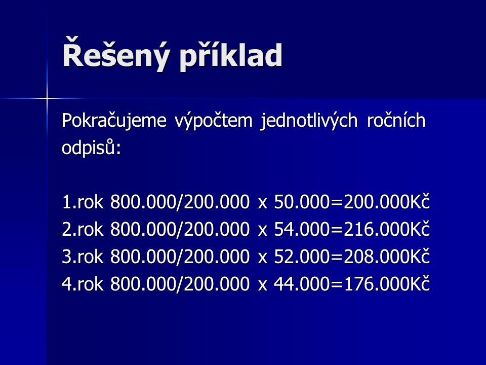 Řešený příklad Pokračujeme výpočtem jednotlivých ročních odpisů: 1.rok 800.000/200.000 x 50.000=200.000Kč 2.rok 800.000/200.000 x 54.000=216.000Kč 3.r