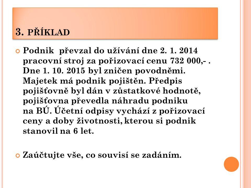 3. PŘÍKLAD Podnik převzal do užívání dne 2. 1. 2014 pracovní stroj za pořizovací cenu 732 000,-.
