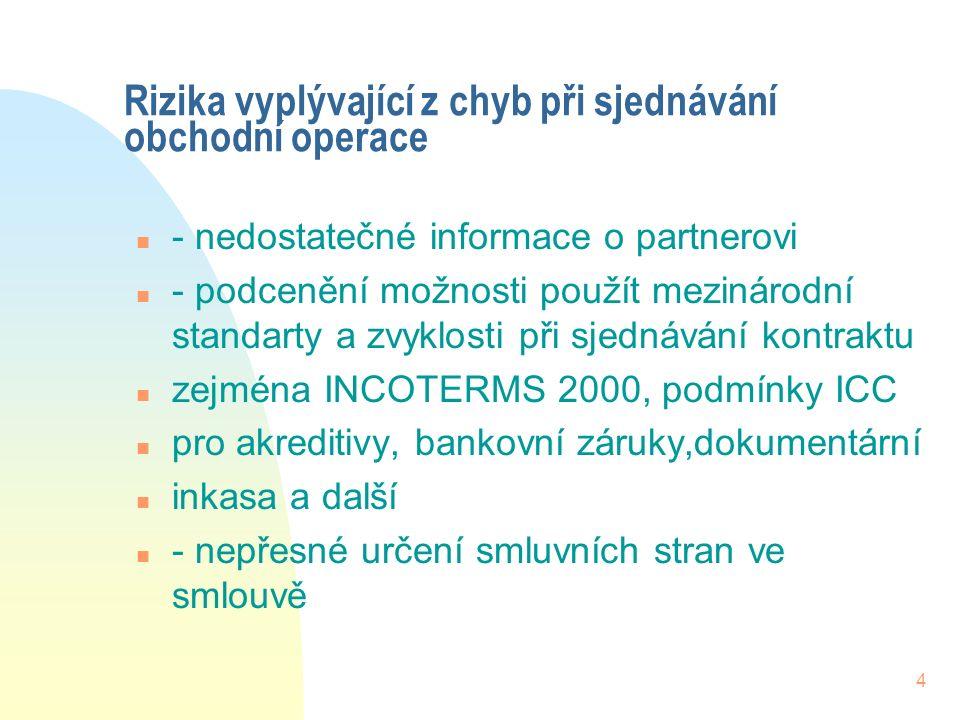 3 Možnosti jak rizikům spojeným s prodejem zboží předcházet n - pojištění teritoriálních rizik - EGAP n - pojištění platební nevůle a platební neschop