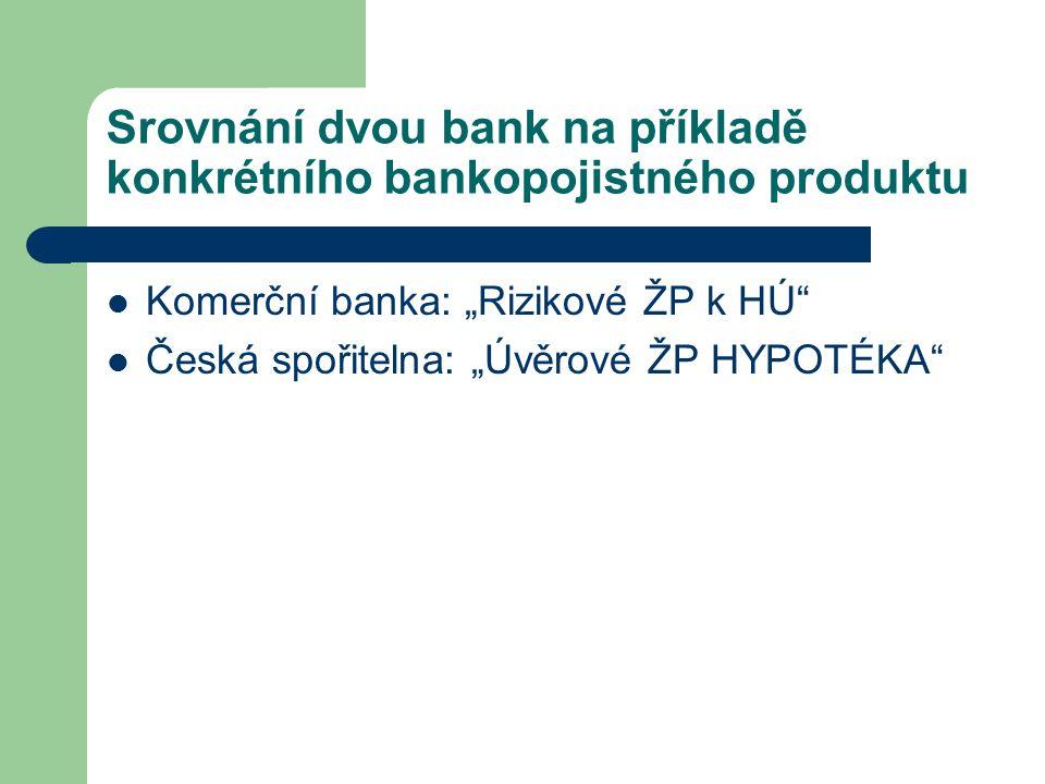 """Srovnání dvou bank na příkladě konkrétního bankopojistného produktu Komerční banka: """"Rizikové ŽP k HÚ Česká spořitelna: """"Úvěrové ŽP HYPOTÉKA"""