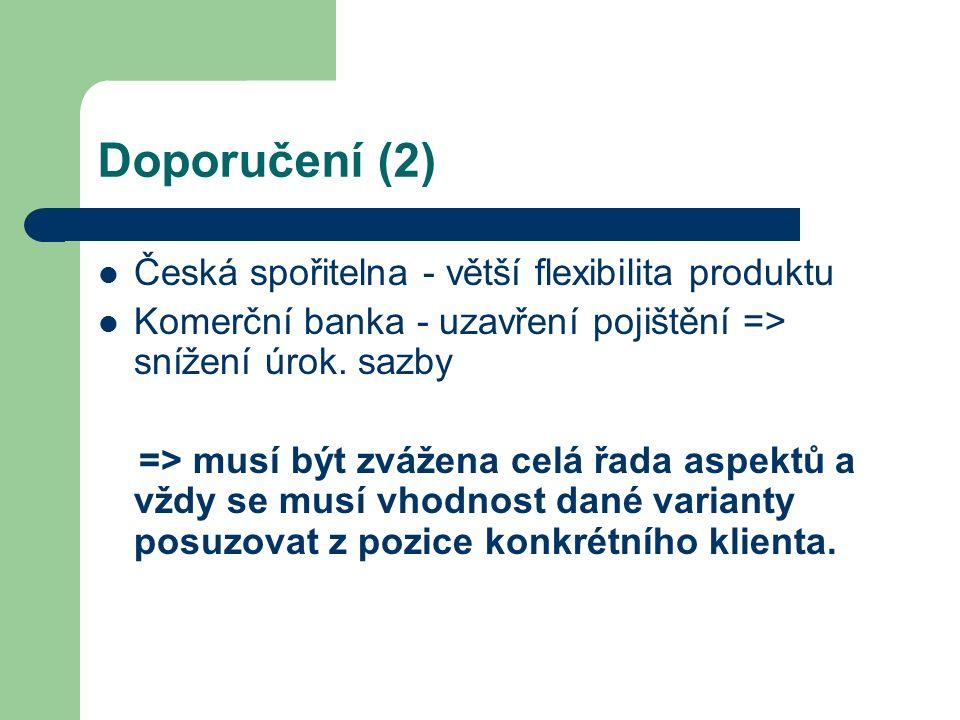 Doporučení (2) Česká spořitelna - větší flexibilita produktu Komerční banka - uzavření pojištění => snížení úrok. sazby => musí být zvážena celá řada