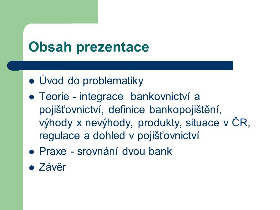 Obsah prezentace Úvod do problematiky Teorie - integrace bankovnictví a pojišťovnictví, definice bankopojištění, výhody x nevýhody, produkty, situace v ČR, regulace a dohled v pojišťovnictví Praxe - srovnání dvou bank Závěr