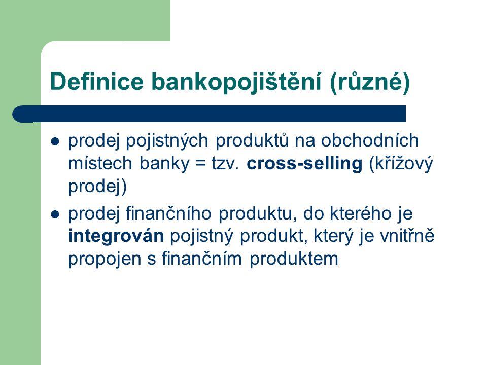 Definice bankopojištění (různé) prodej pojistných produktů na obchodních místech banky = tzv. cross-selling (křížový prodej) prodej finančního produkt