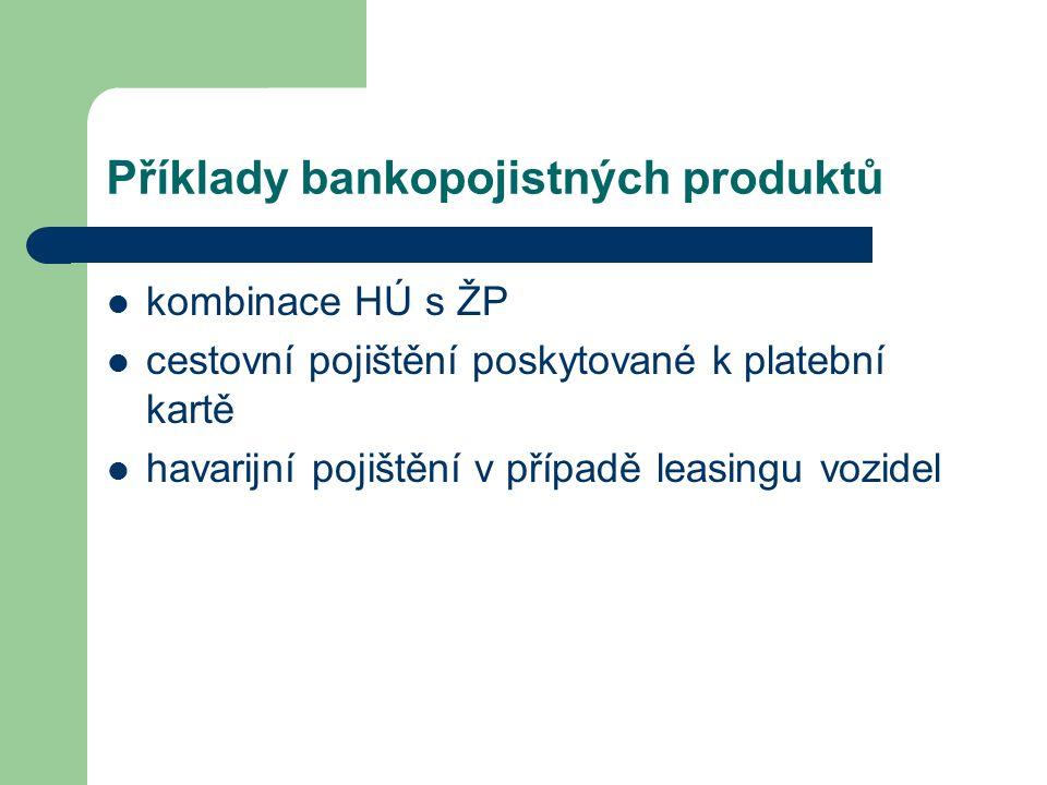Příklady bankopojistných produktů kombinace HÚ s ŽP cestovní pojištění poskytované k platební kartě havarijní pojištění v případě leasingu vozidel