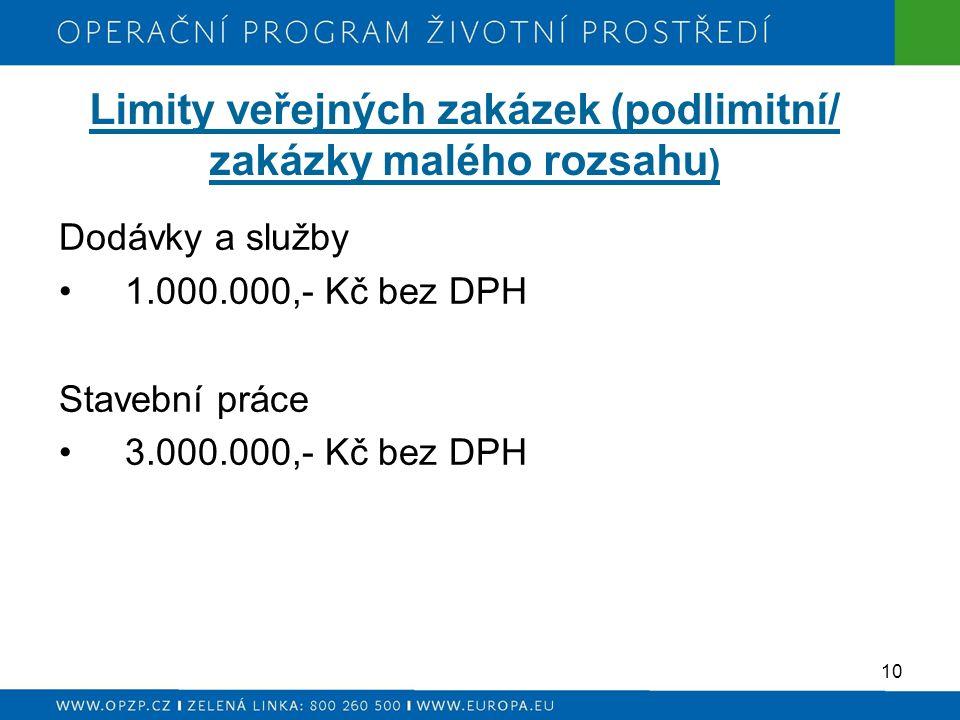 Limity veřejných zakázek (podlimitní/ zakázky malého rozsahu ) Dodávky a služby 1.000.000,- Kč bez DPH Stavební práce 3.000.000,- Kč bez DPH 10