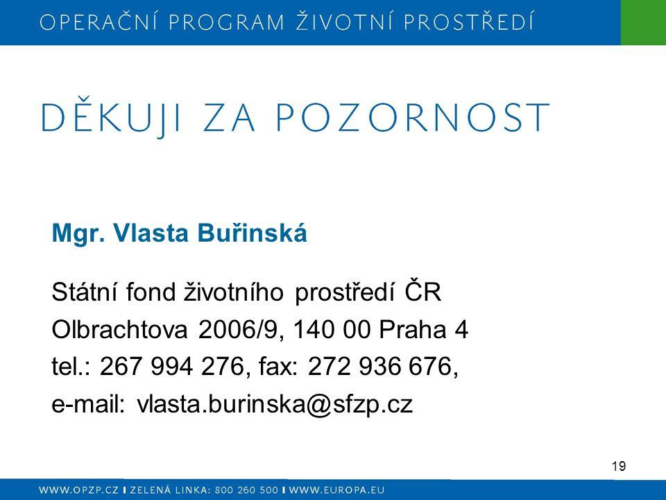 Mgr. Vlasta Buřinská Státní fond životního prostředí ČR Olbrachtova 2006/9, 140 00 Praha 4 tel.: 267 994 276, fax: 272 936 676, e-mail: vlasta.burinsk