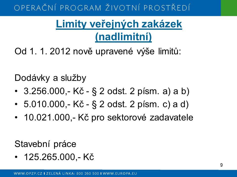 Limity veřejných zakázek (nadlimitní) Od 1. 1.