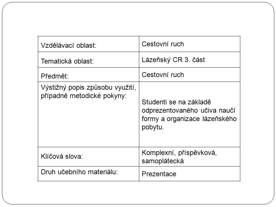 Vzdělávací oblast: Cestovní ruch Tematická oblast: Lázeňský CR 3.
