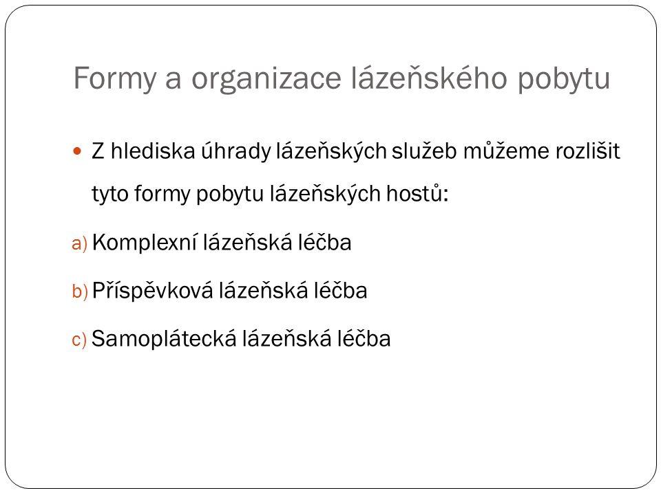 Formy a organizace lázeňského pobytu Z hlediska úhrady lázeňských služeb můžeme rozlišit tyto formy pobytu lázeňských hostů: a) Komplexní lázeňská léčba b) Příspěvková lázeňská léčba c) Samoplátecká lázeňská léčba