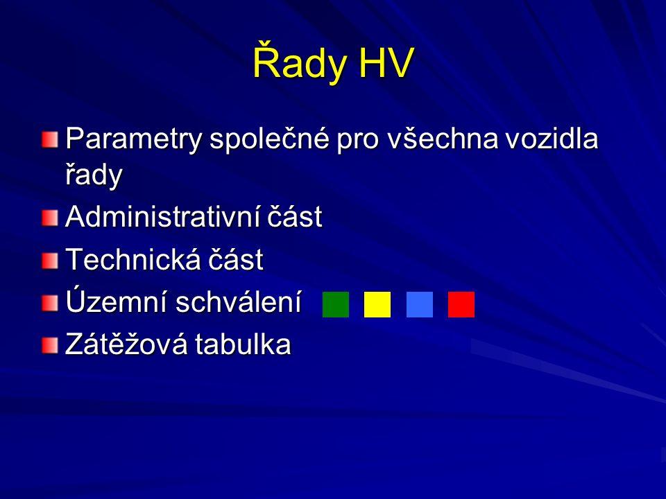Řady HV Parametry společné pro všechna vozidla řady Administrativní část Technická část Územní schválení Zátěžová tabulka