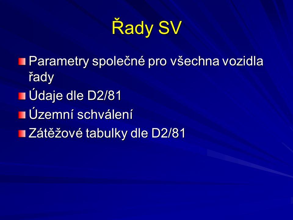 Řady SV Parametry společné pro všechna vozidla řady Údaje dle D2/81 Územní schválení Zátěžové tabulky dle D2/81