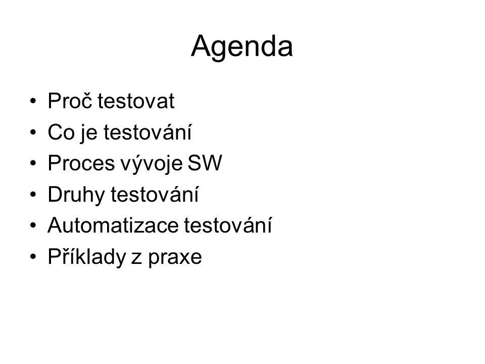 Agenda Proč testovat Co je testování Proces vývoje SW Druhy testování Automatizace testování Příklady z praxe