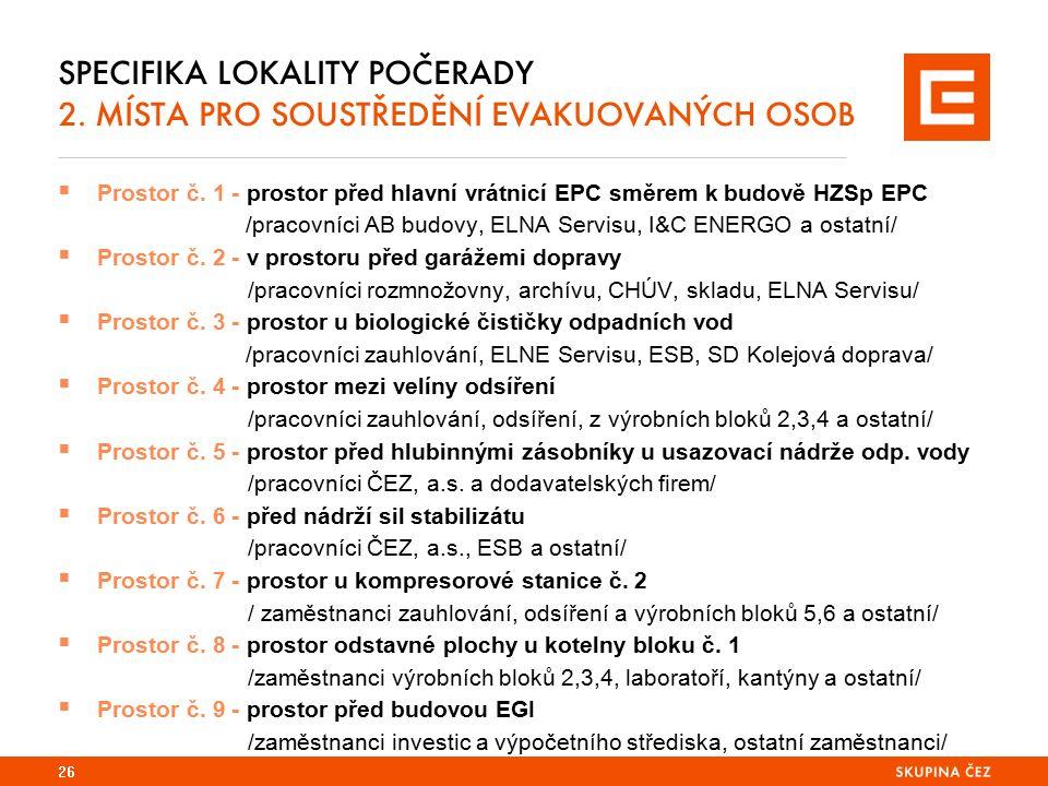 SPECIFIKA LOKALITY POČERADY 2. MÍSTA PRO SOUSTŘEDĚNÍ EVAKUOVANÝCH OSOB  Prostor č.