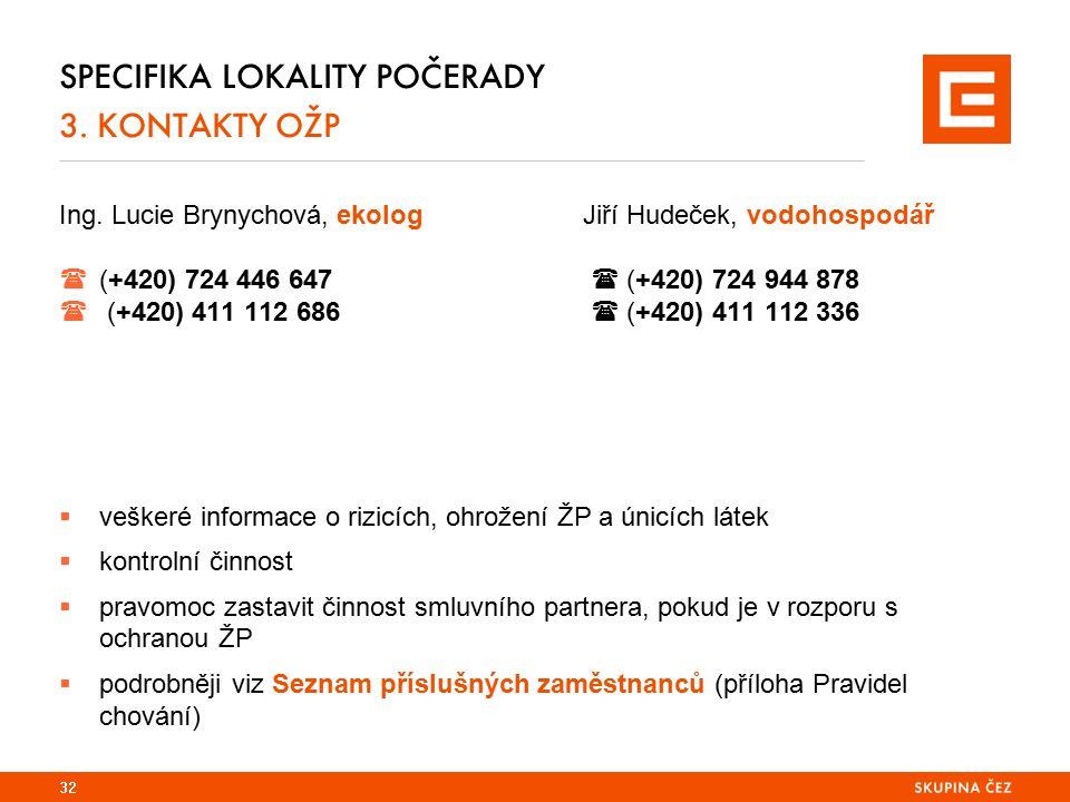 SPECIFIKA LOKALITY POČERADY 3. KONTAKTY OŽP Ing. Lucie Brynychová, ekologJiří Hudeček, vodohospodář  (+420) 724 446 647  (+420) 724 944 878  (+420)